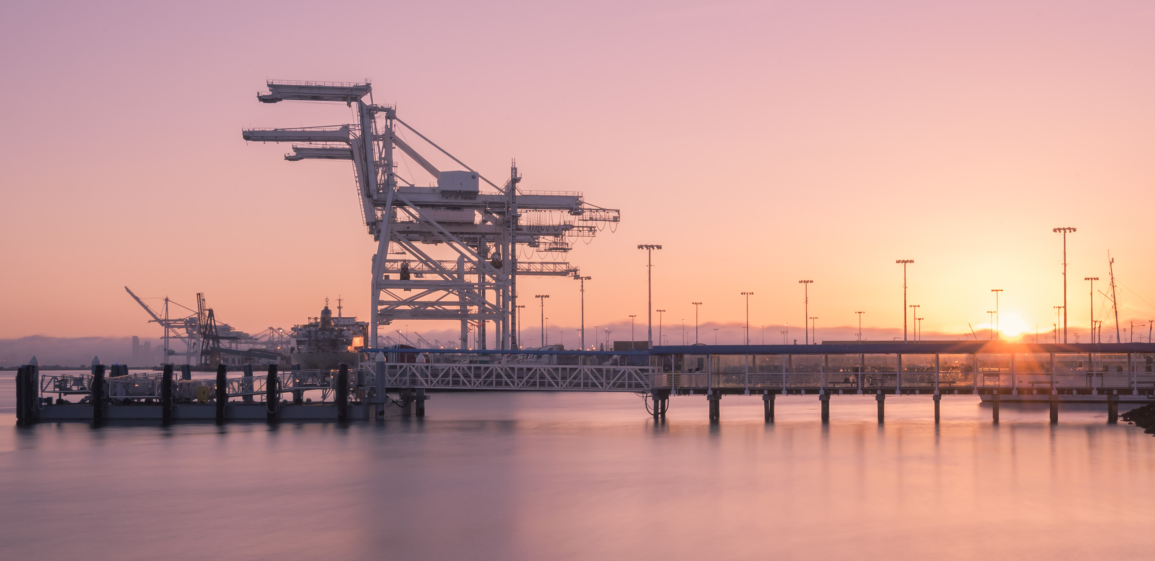 Sunset at the Port of Oakland